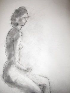 Georgia, charcoal dust and white chalk on paper