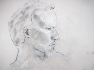 Bloke with goatee beard, charcoal dust and white chalk on paper