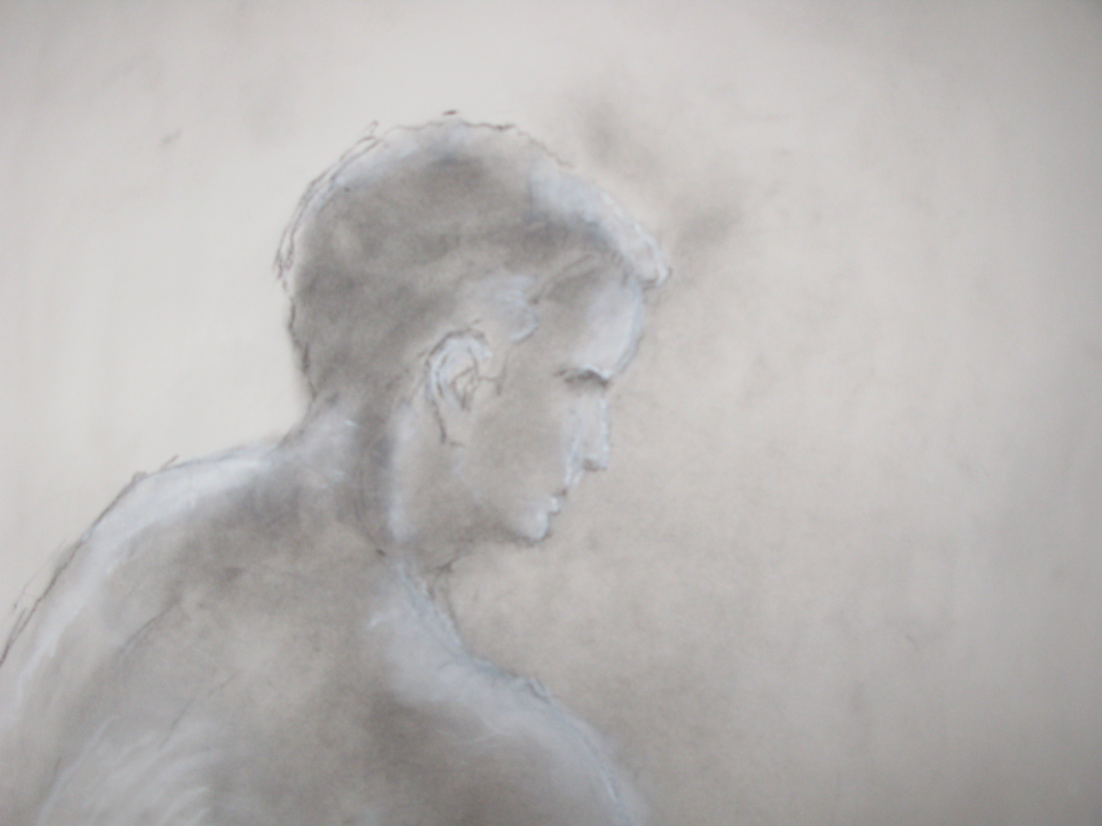 Steve, powdered charcoal, white chalk on paper