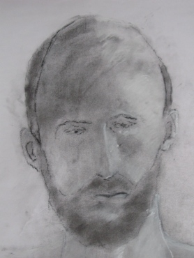 Matt, Powdered charcoal and white chalk on paper
