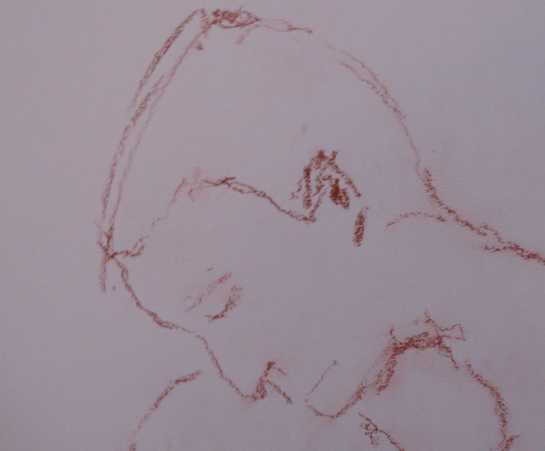 Steve, quick study, red chalk on paper