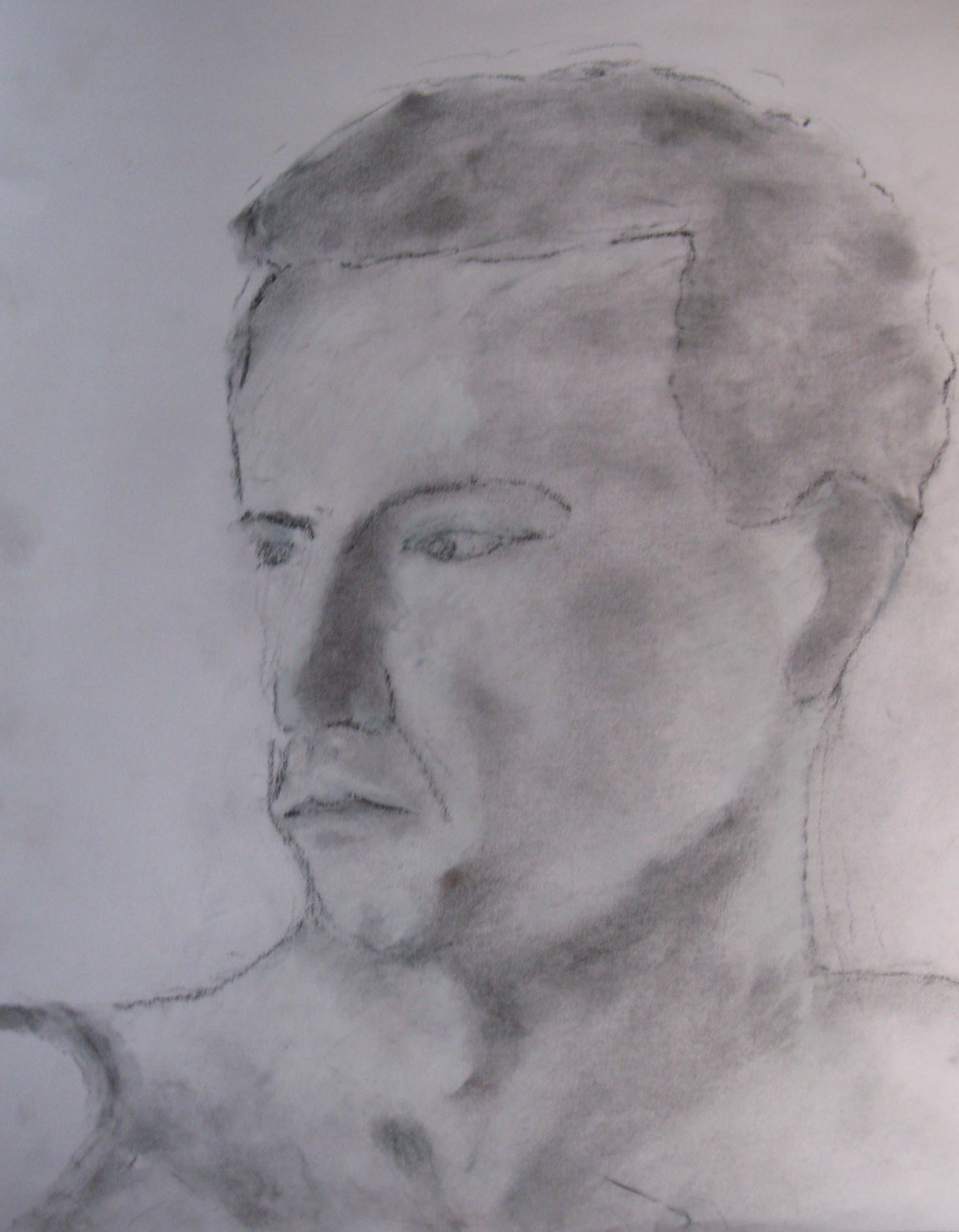 Steve, mostly powdered charcoal, bit of black conte, bit of white conte crayon on paper