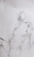 Elizabeth, charcoal dust on paper