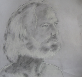 Paul, charcoal dust and white chalk on paper
