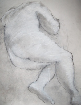 Chris, charcoal dust, white chalk on paper