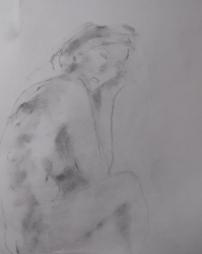 Caroline, charcoal dust on white paper
