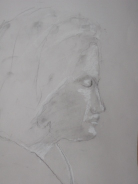 Tulin, Charcoal dust, white chalk on paper