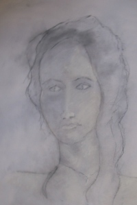Ruth, Charcoal and white chalk on paper