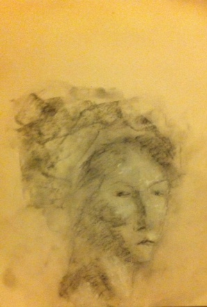 Ruth, Black Crayon, Charcoal Dust, White Chalk