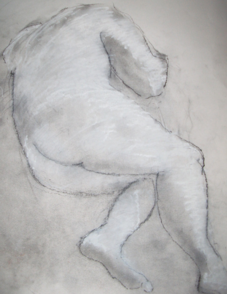 Chris, charcoal dust and white chalk on paper