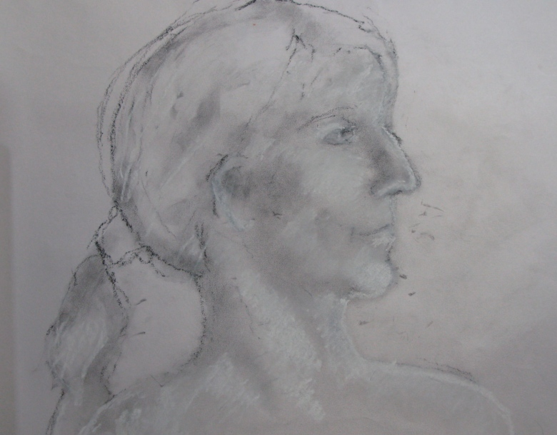 Sarah2 charcoal dust and white chalk on printing paper
