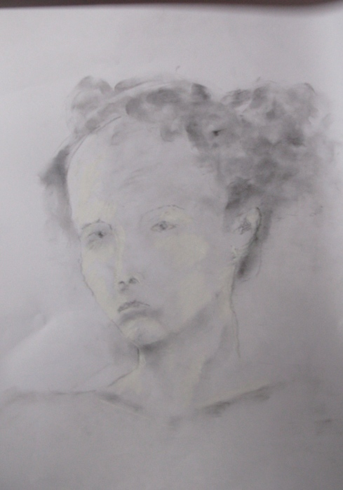 Ruth, Charcoal dust white chalk on paper
