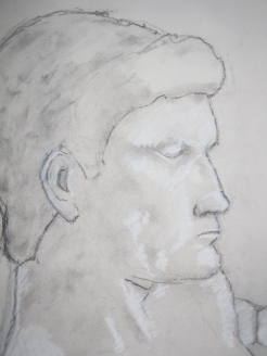 Chris, charcoal dust on paper