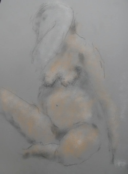 Originally charcoal dust on paper, colour added to jpeg via Ipad