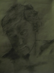 Chris in need of a haircut, Charcoal dust, black & white chalk on paper