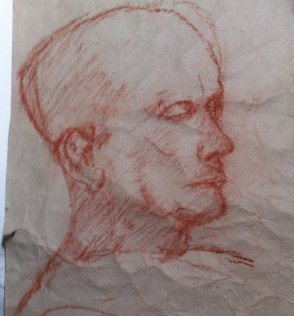 Chris, red chalk on packing paper